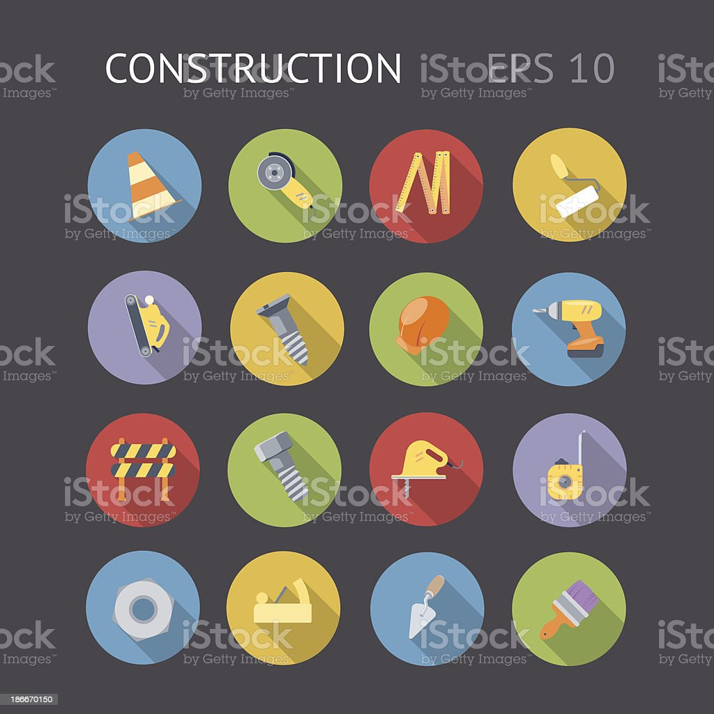 Flat Icons For Construction vector art illustration