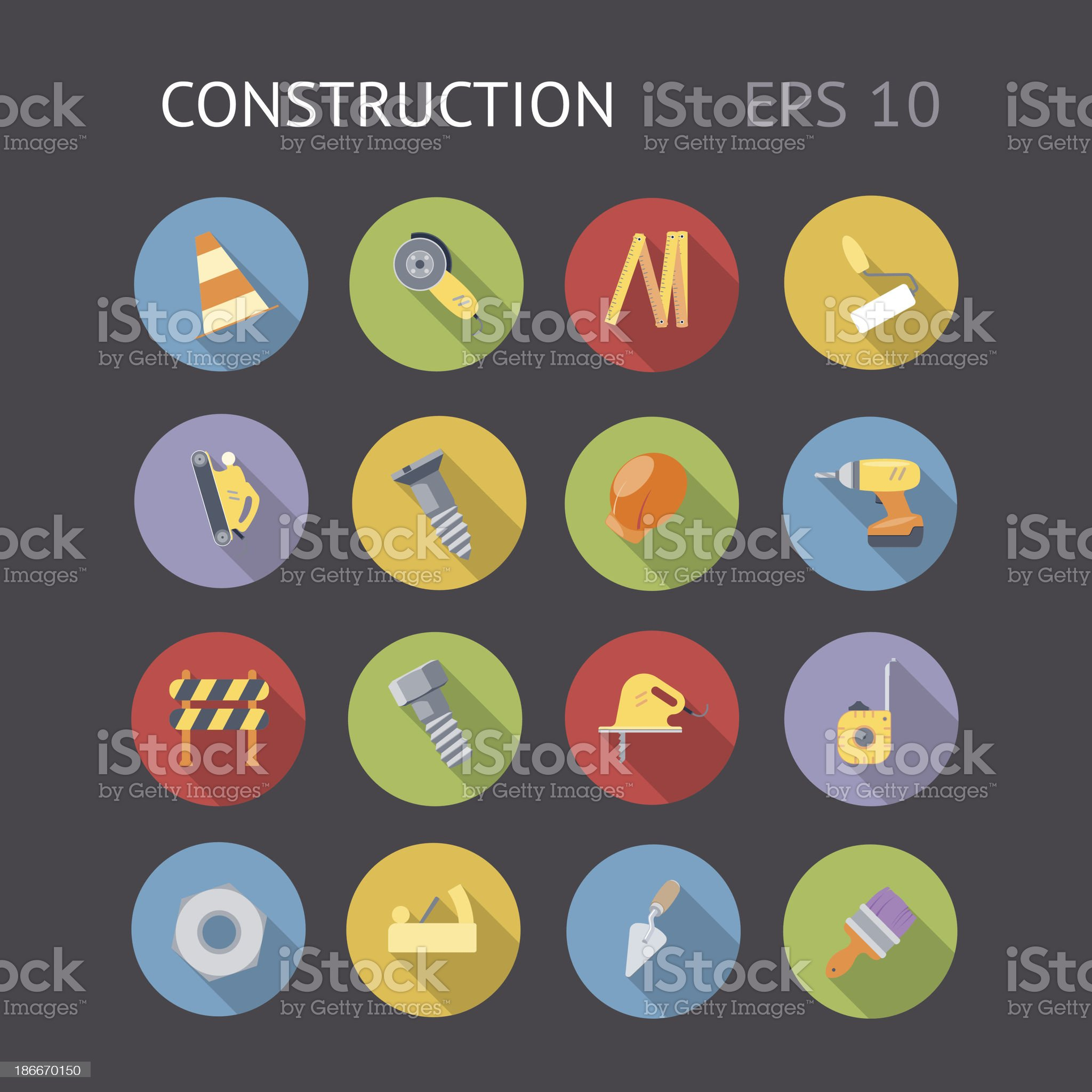 Flat Icons For Construction royalty-free stock vector art