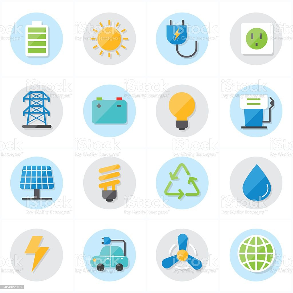 Flat Icons For Environment Icons and Ecology Icons Vector Illustration vector art illustration