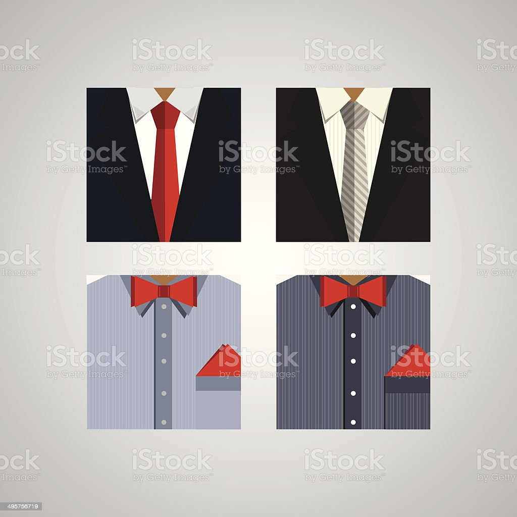 Flat icons for formal wear vector art illustration
