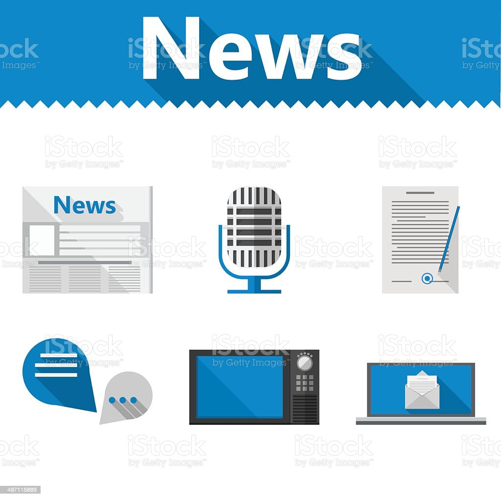 Flat icons for news royalty-free stock vector art