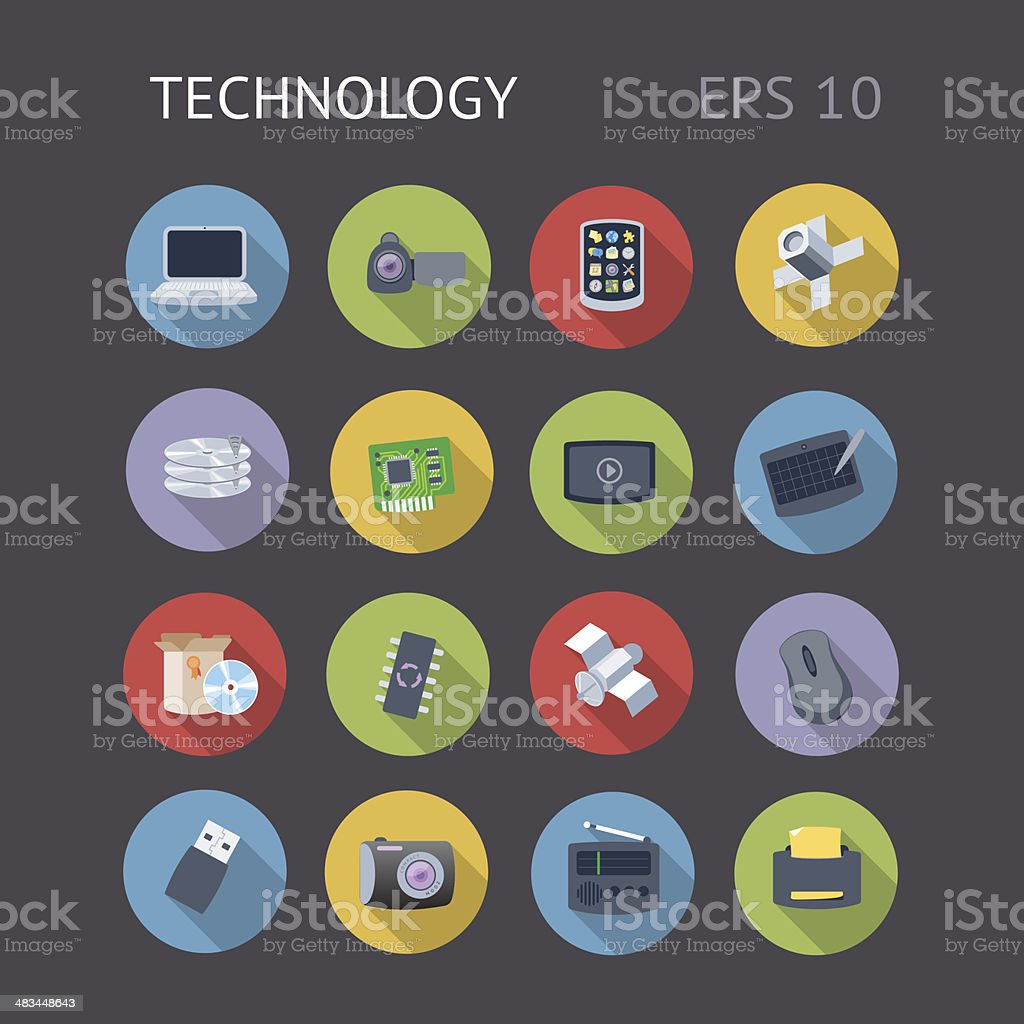 Flat Icons For Technology royalty-free stock vector art