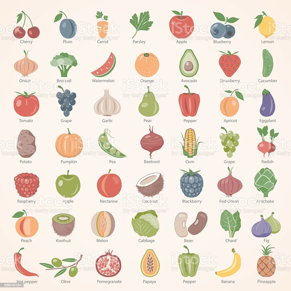 Flat Icons - Fruits and Vegetables vector art illustration