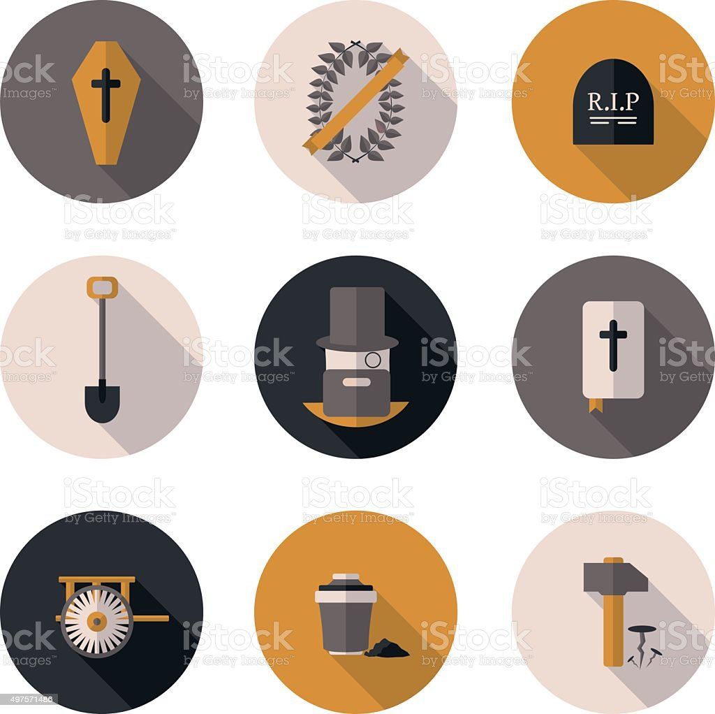 flat icons funeral services vector art illustration