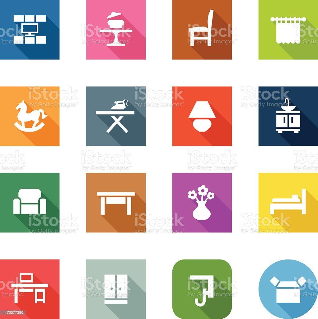 Flat Icons - Furniture Categories vector art illustration