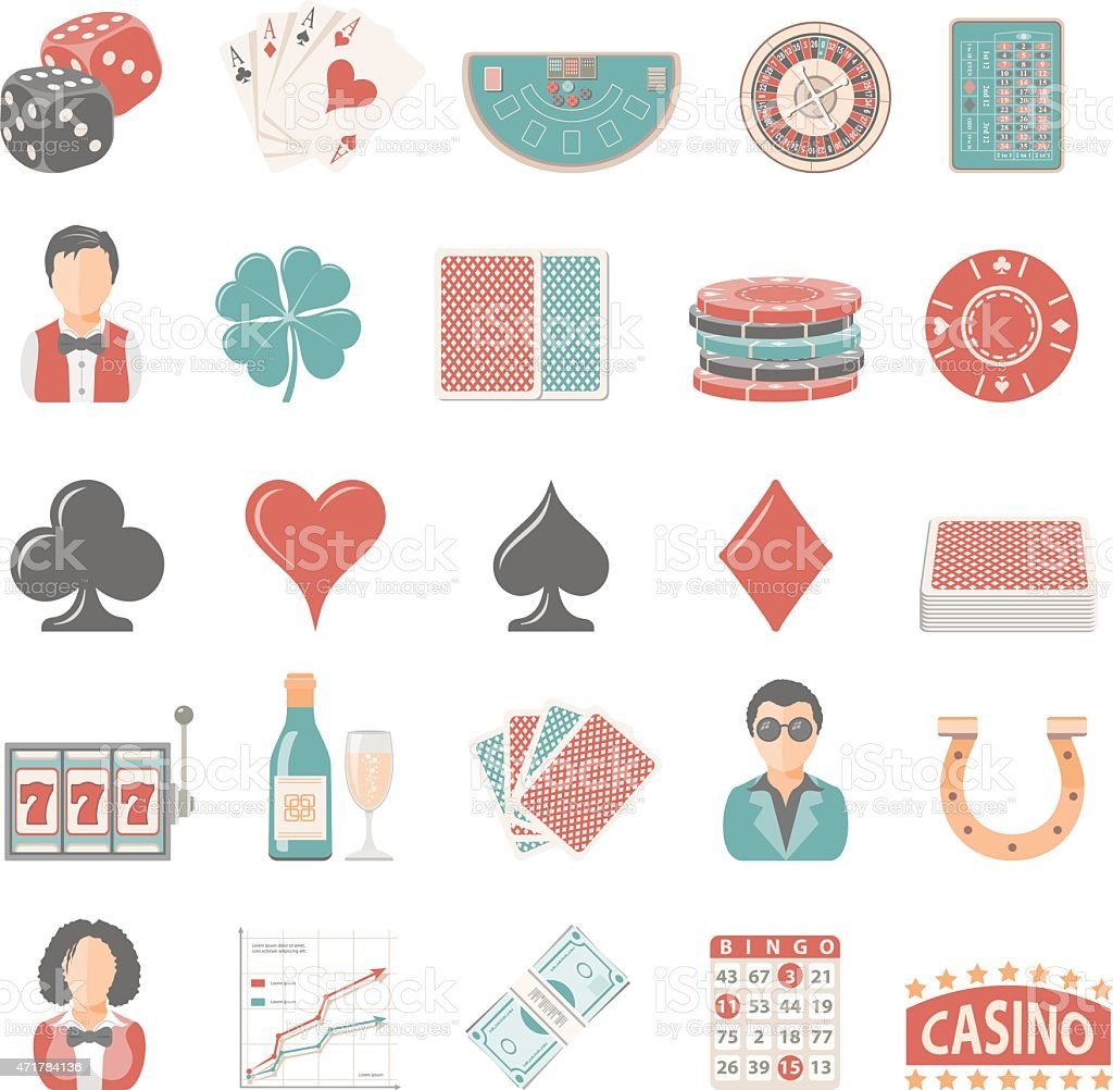 Flat Icons - Gambling vector art illustration