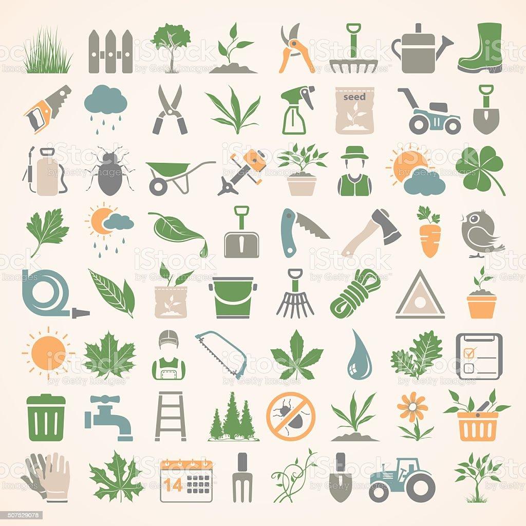 Flat Icons - Gardening vector art illustration