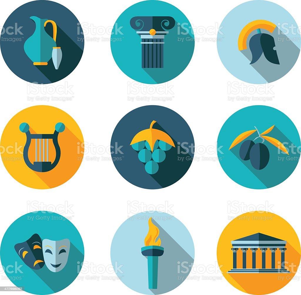 flat icons Greece vector art illustration