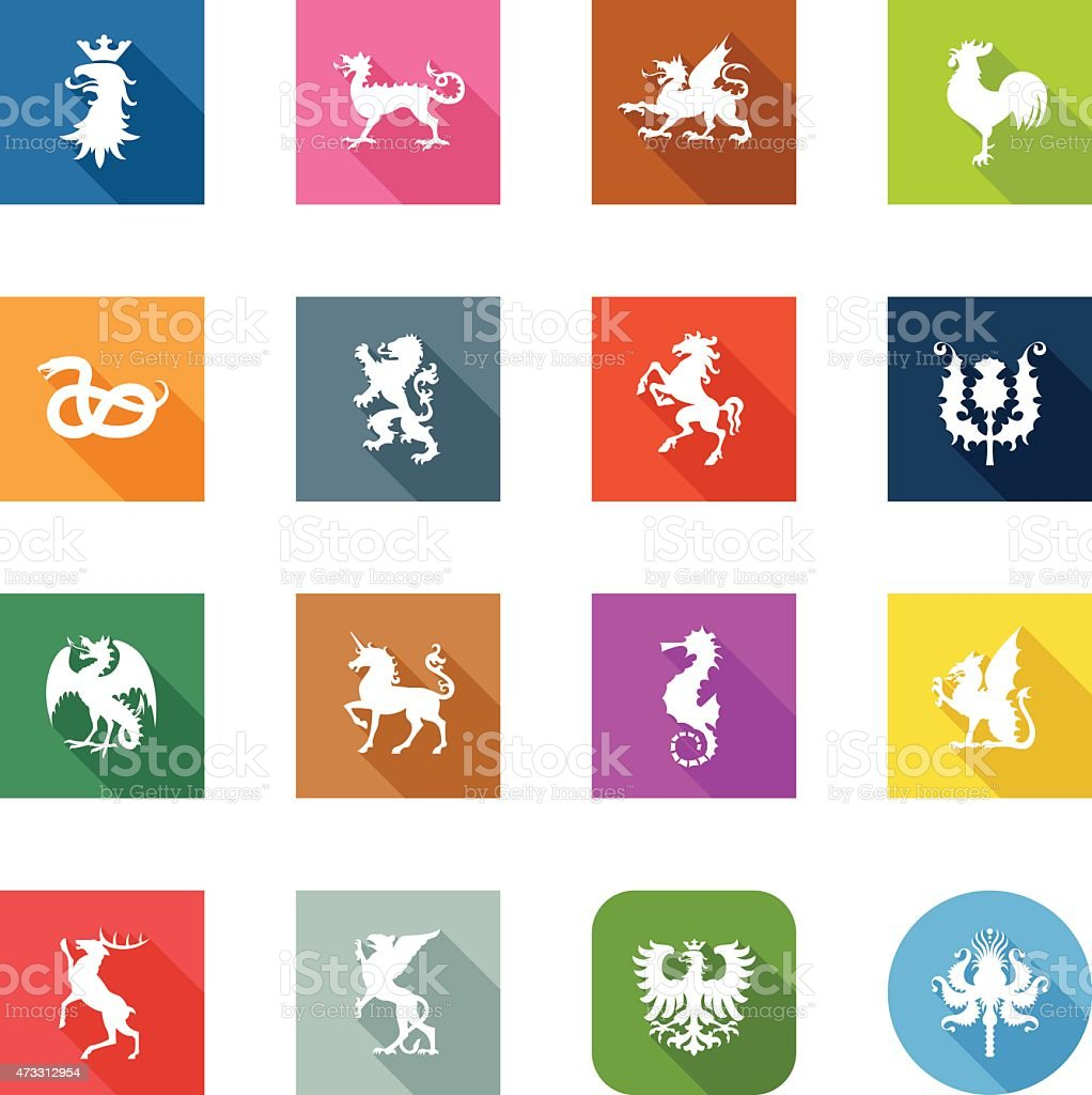 Flat Icons - Heraldic Animals vector art illustration