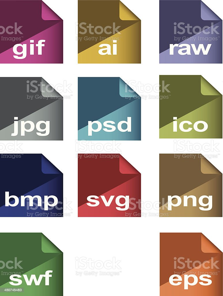flat icons  image formats set vector art illustration