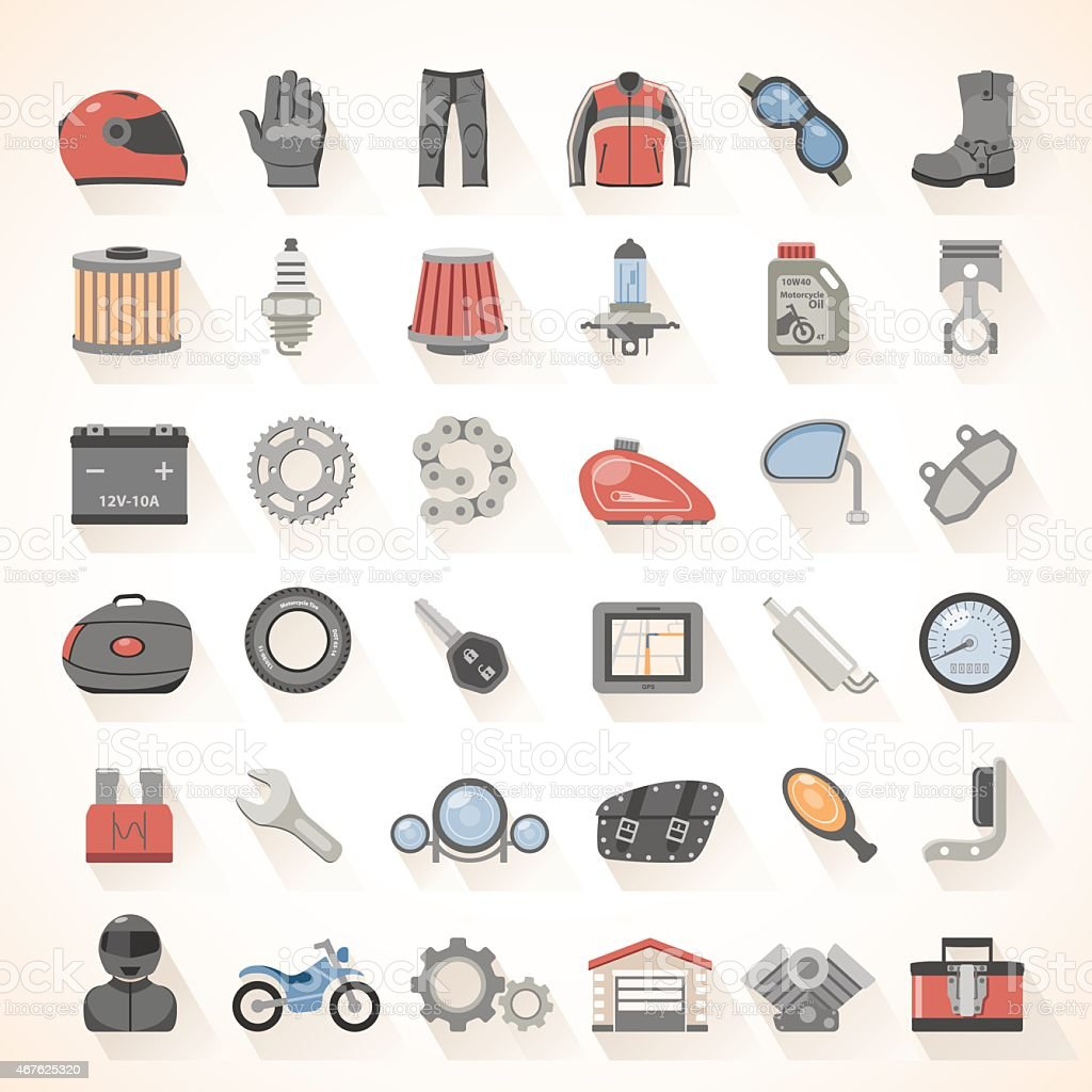 Flat Icons - Motorcycle Gear vector art illustration