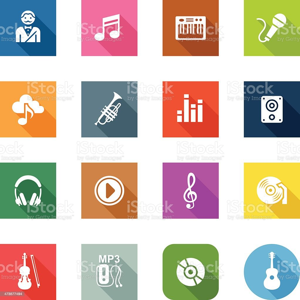 Flat Icons - Music vector art illustration