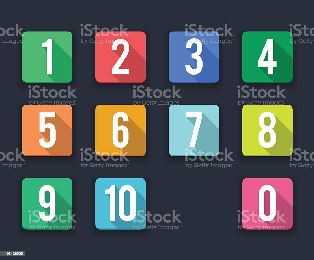 flat icons/ numbers vector art illustration