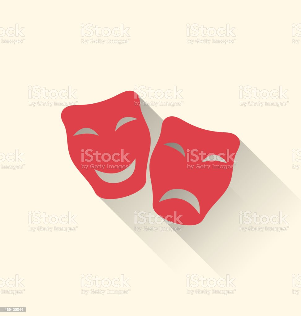 Flat icons of comedy tragedy masks for theatre vector art illustration
