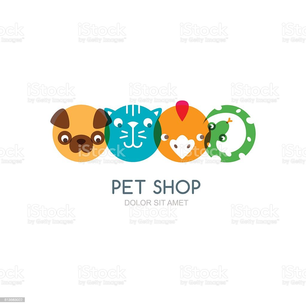 Flat icons of dog head, cat muzzle, bird and snake. vector art illustration