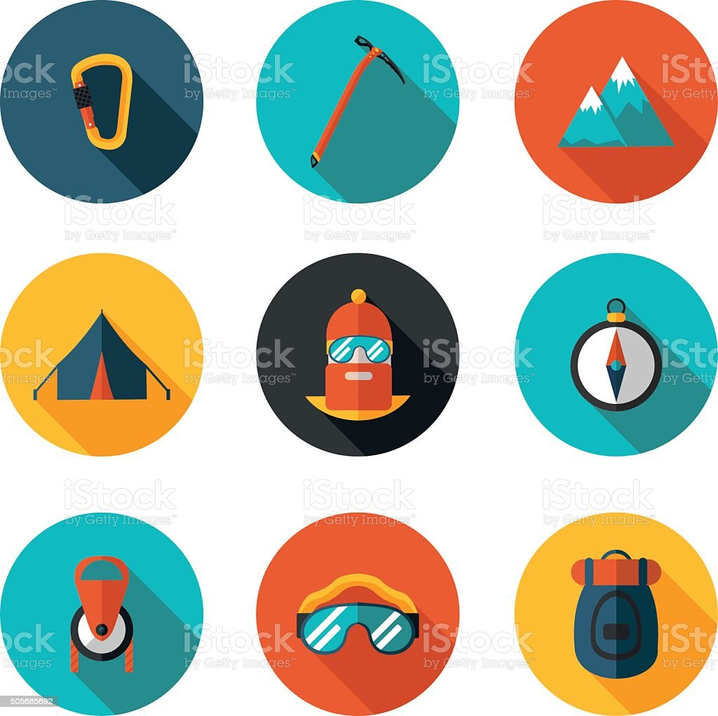 flat icons of mountaineering vector art illustration