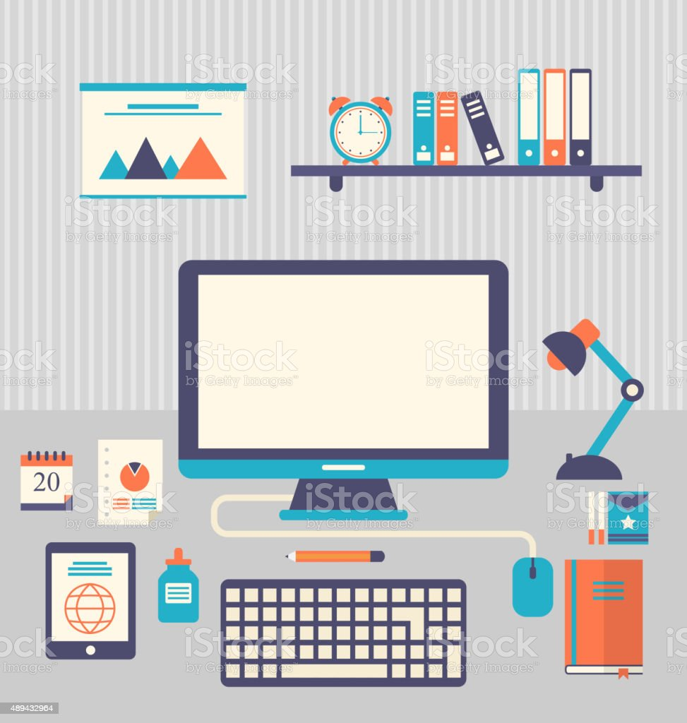 Flat icons of trendy everyday objects, office supplies and busin vector art illustration
