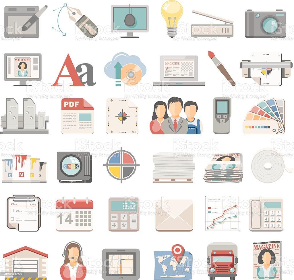 Flat Icons - Offset Printing vector art illustration
