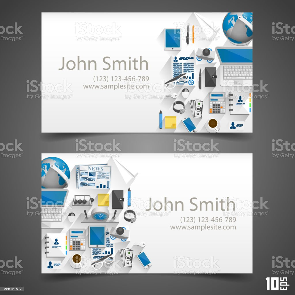 Flat icons on cards vector art illustration