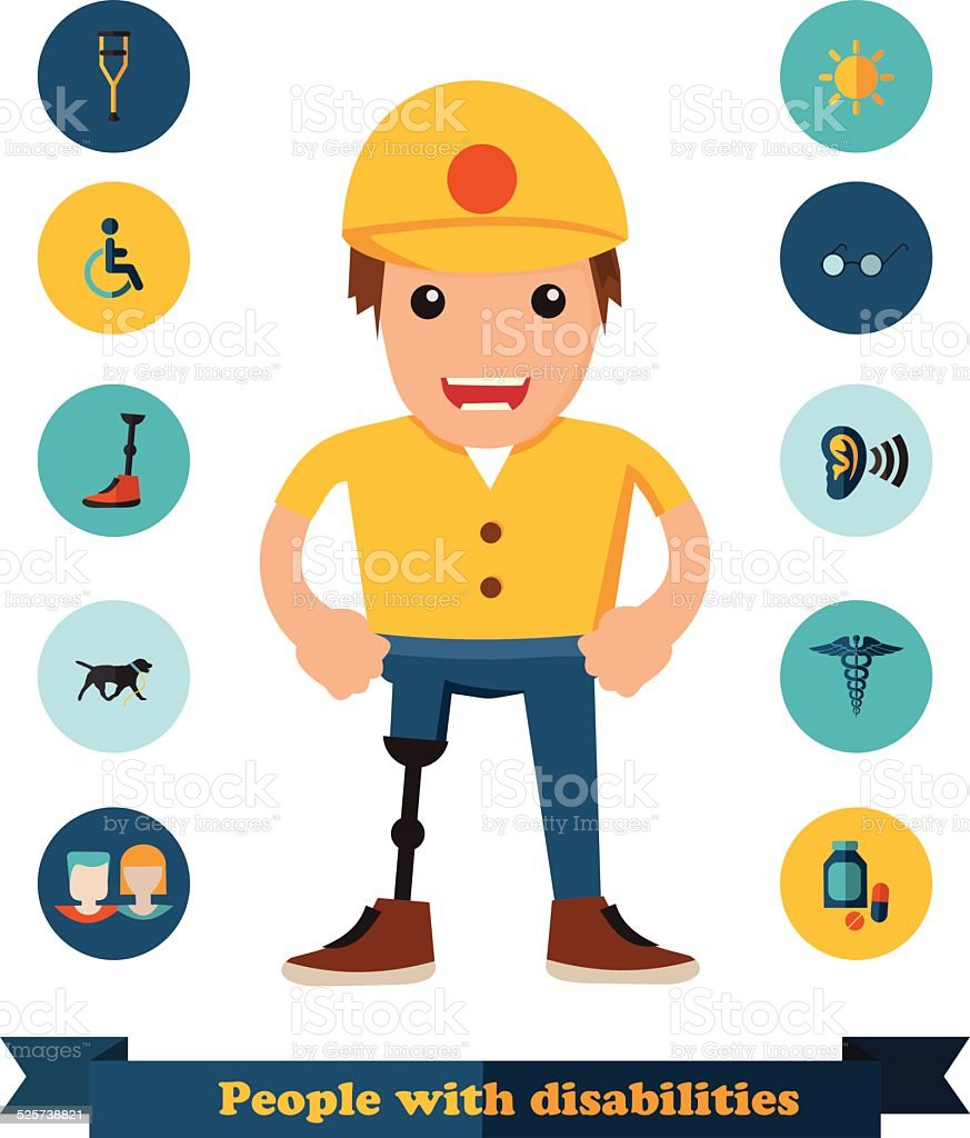 flat icons people with disabilities vector art illustration