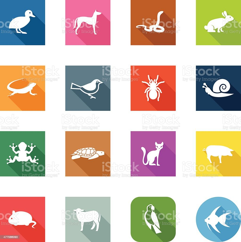 Flat Icons - Pets vector art illustration