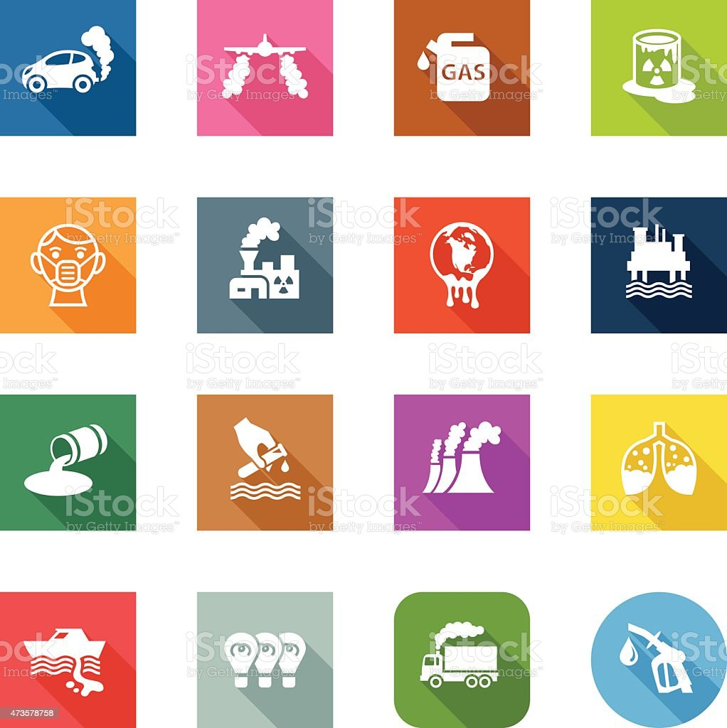 Flat Icons - Pollution vector art illustration