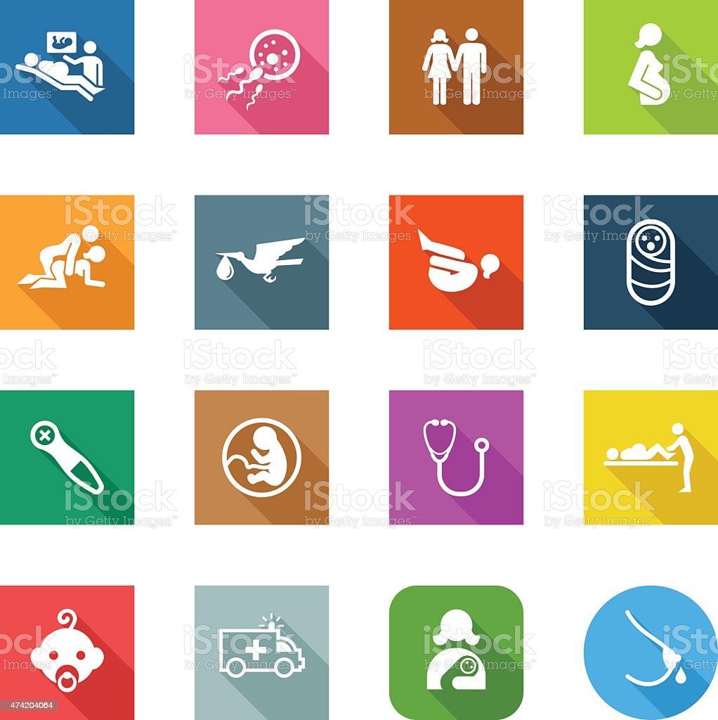 Flat Icons - Pregnancy vector art illustration