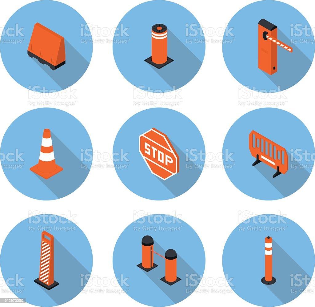 flat icons road equipment vector art illustration