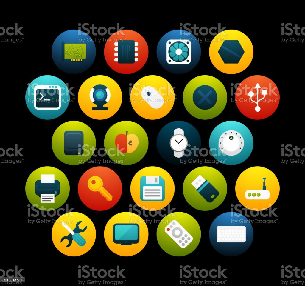 Flat icons set 13 vector art illustration