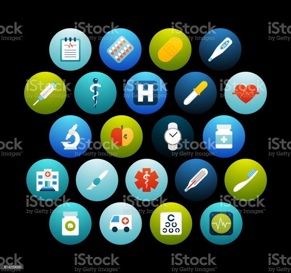 Flat icons set 18 vector art illustration