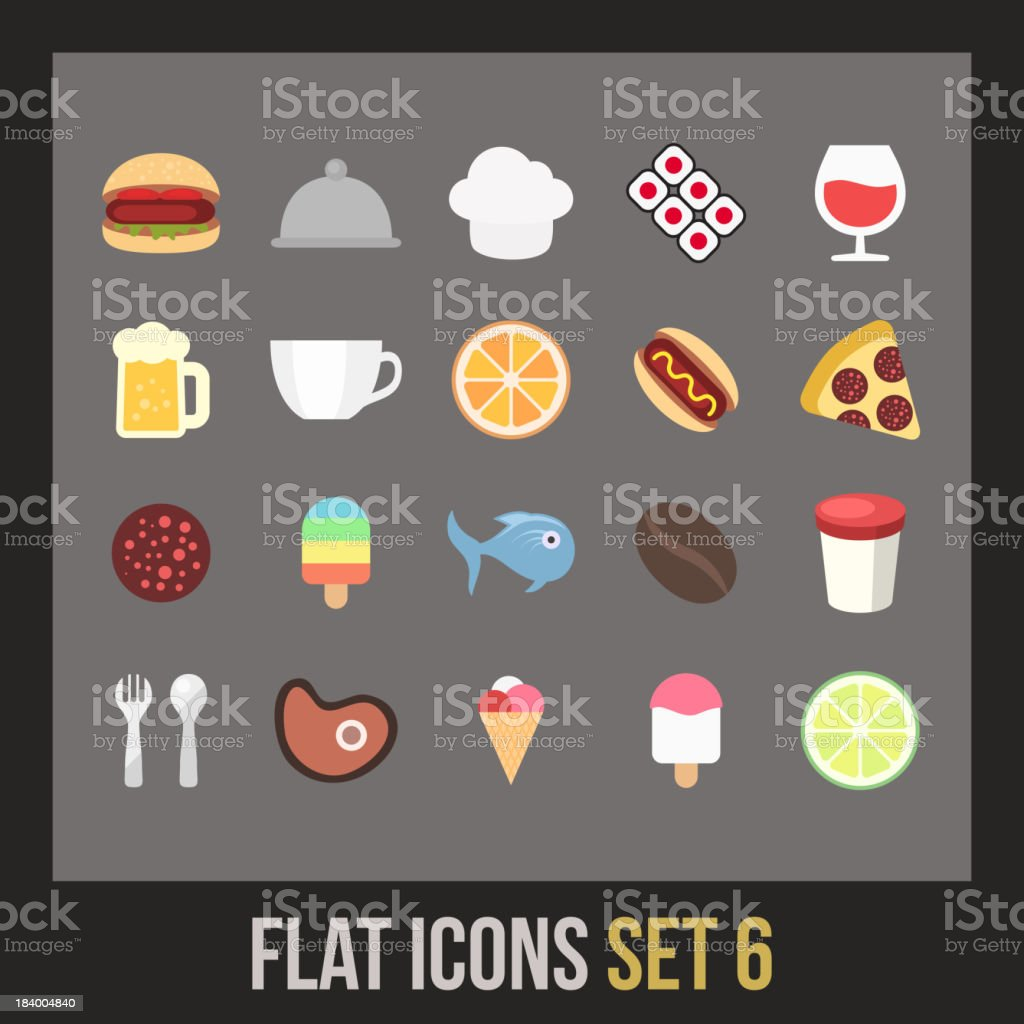 Flat icons set 6 royalty-free stock vector art