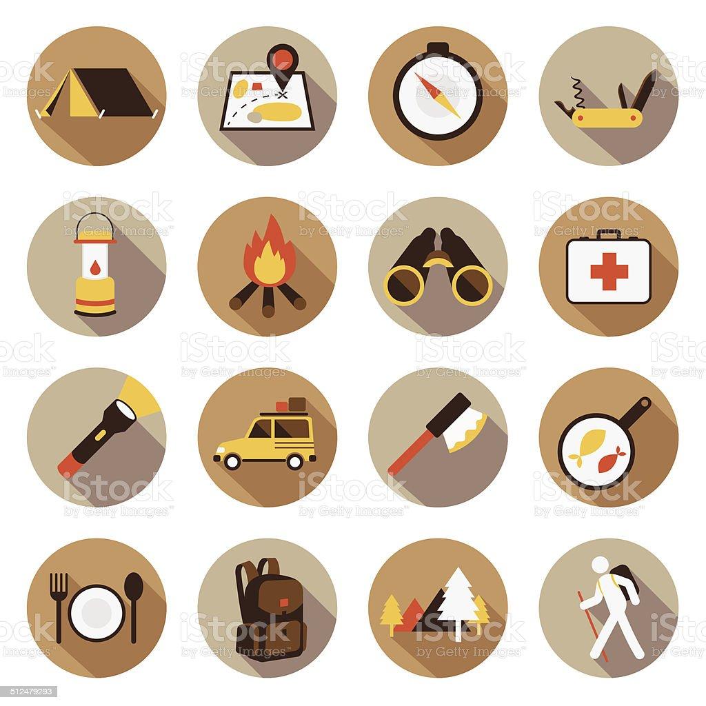Flat icons set : Adventure & Camping, Trips & Travel vector art illustration