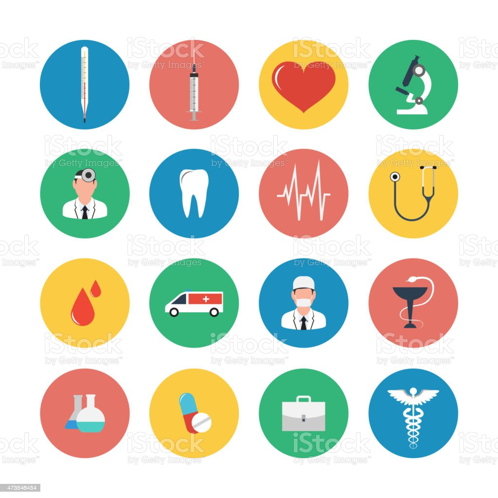 Flat icons set of medical equipment. vector art illustration