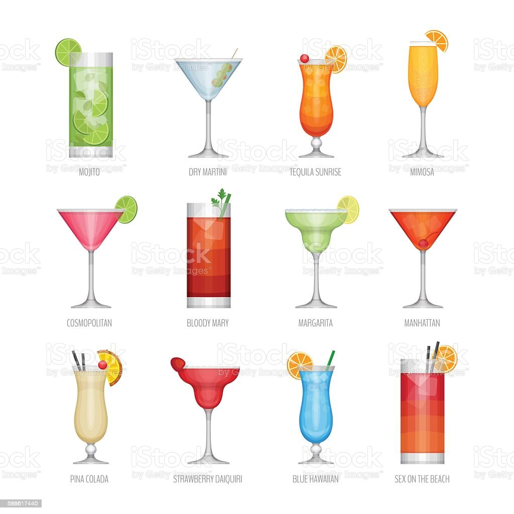 Flat icons set of popular alcohol cocktail. vector art illustration