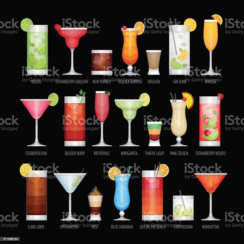 Flat icons set of popular alcohol cocktail.Flat style, vector illustration. vector art illustration