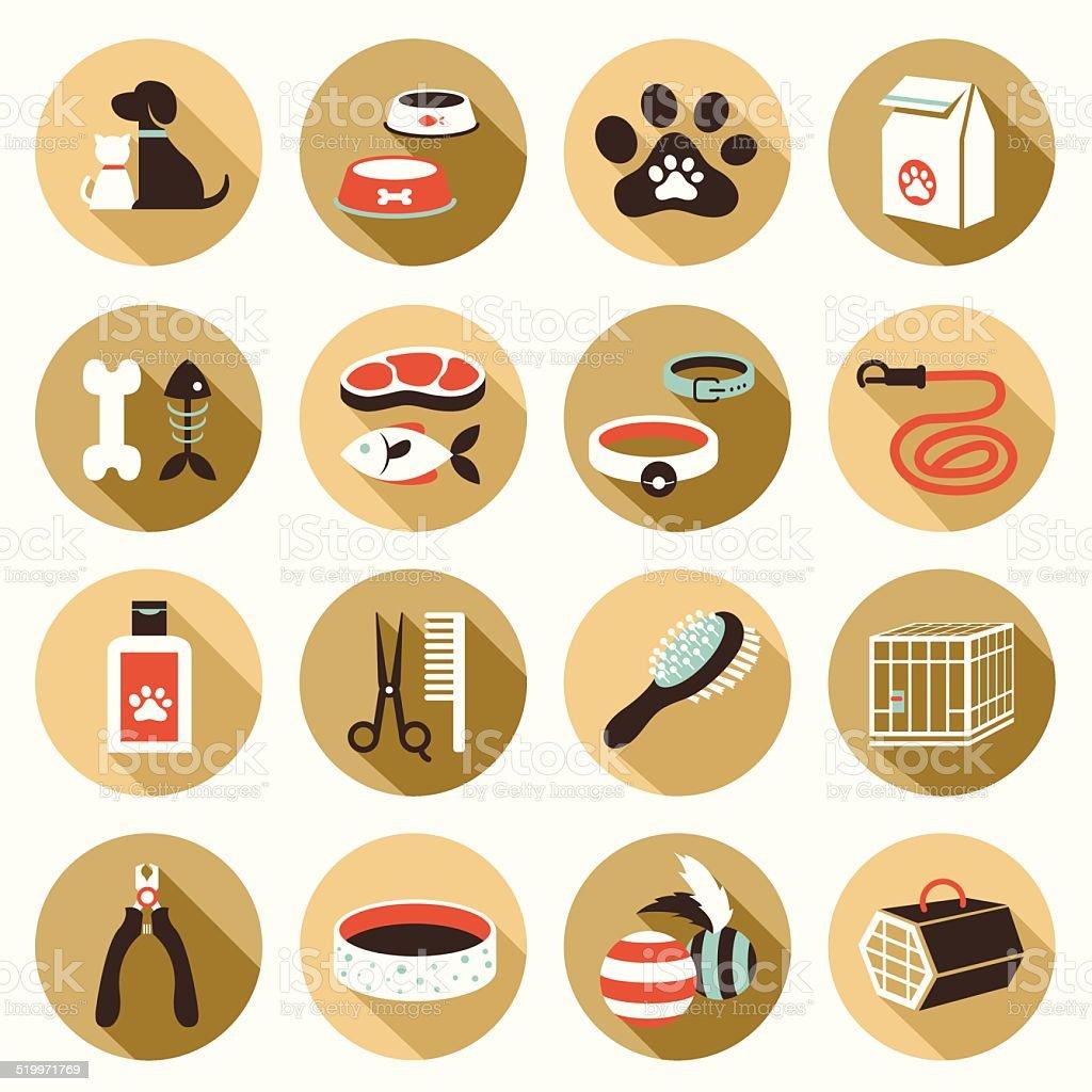 Flat icons set : Pet, Cat & Dog Object vector art illustration