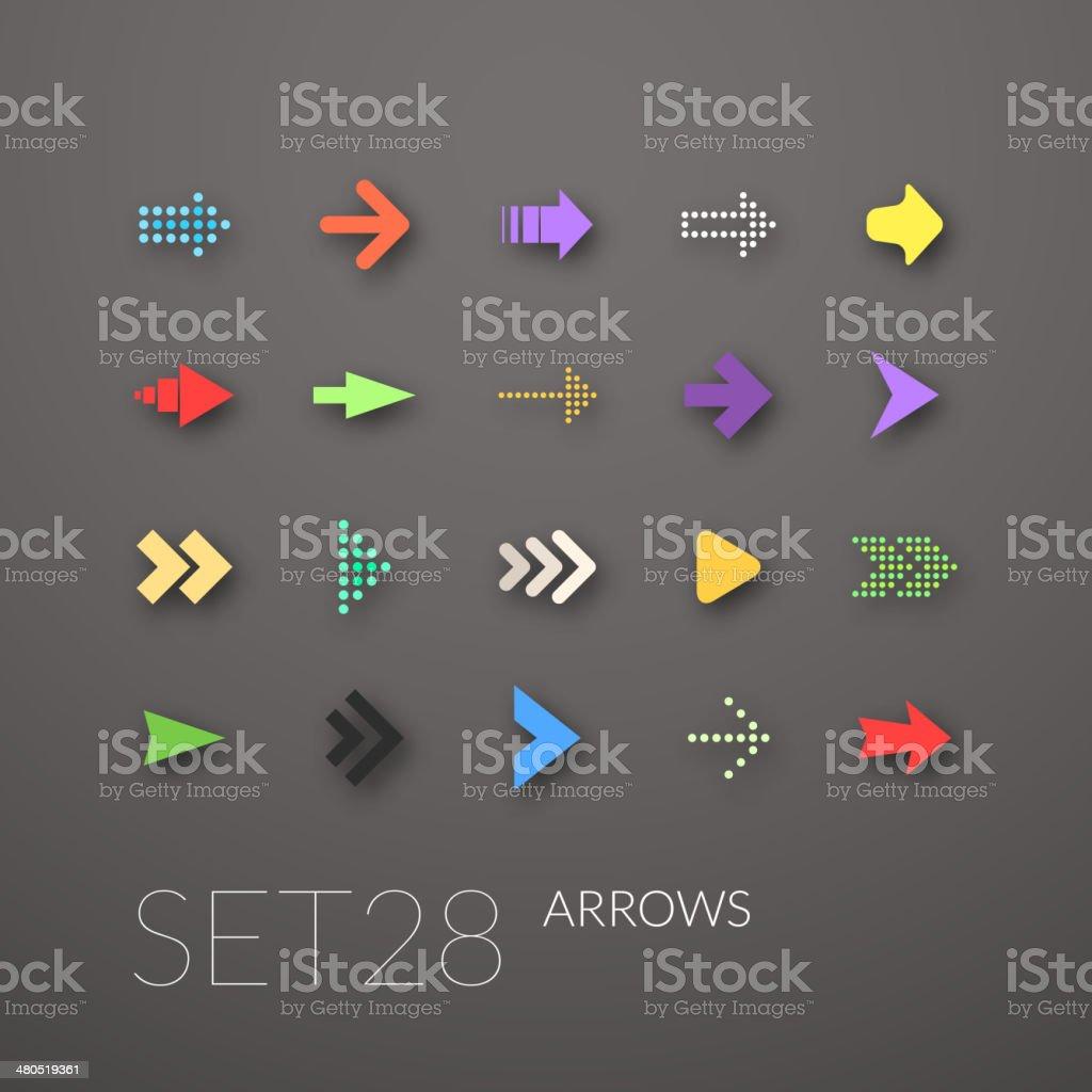 Flat icons set vector art illustration