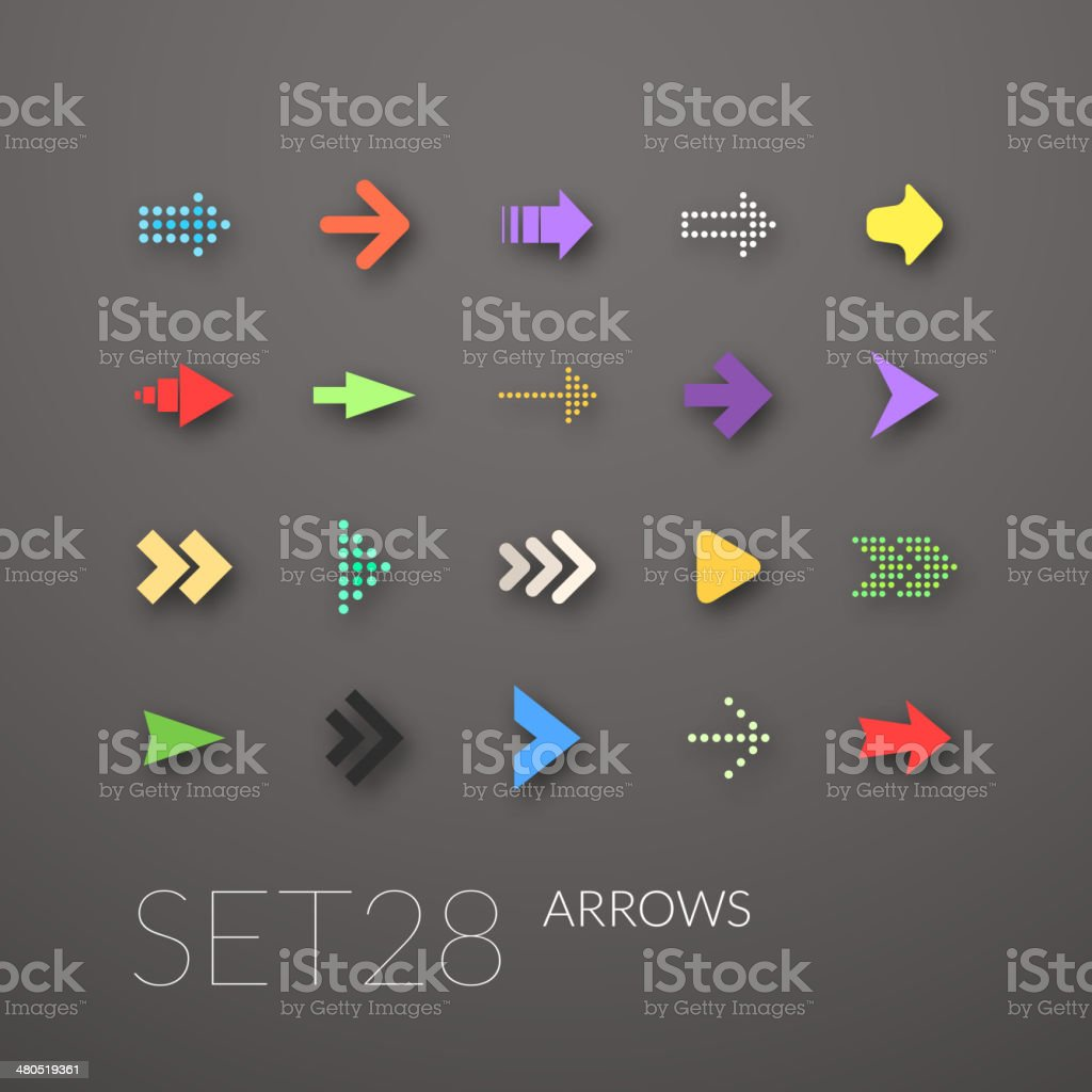 Flat icons set vector art illustration