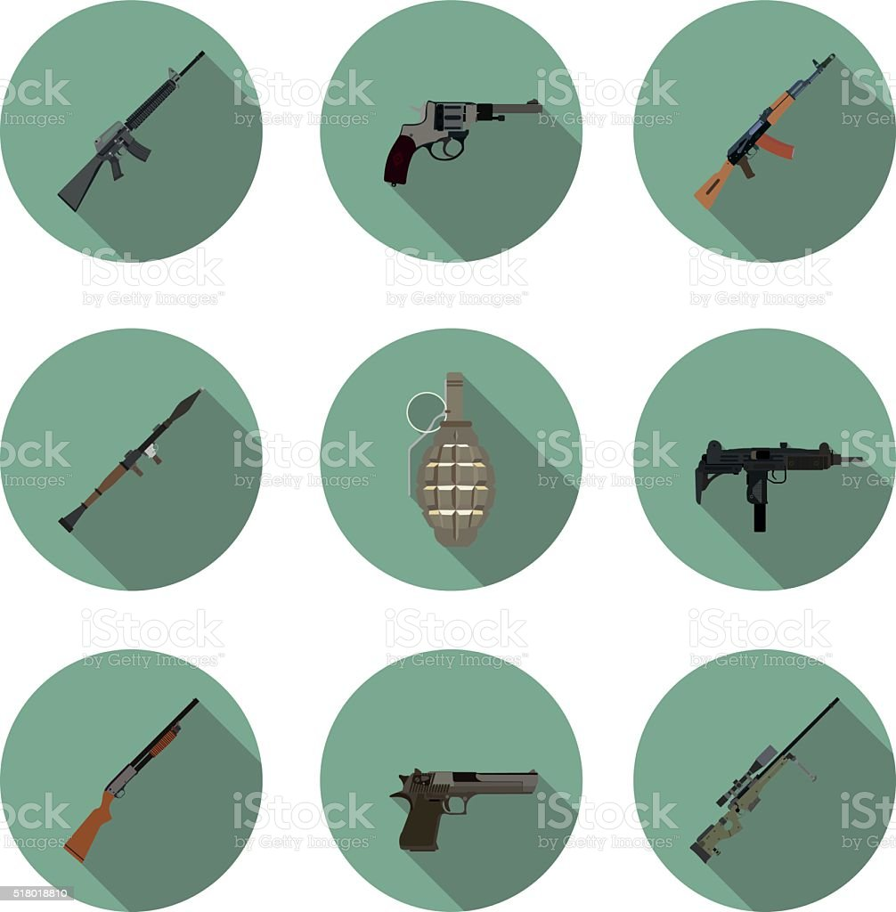 flat icons set weapons vector art illustration