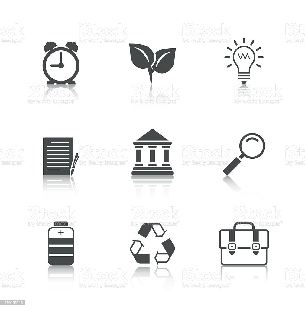Flat Icons Set with Reflection vector art illustration
