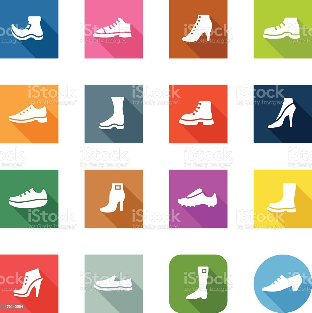 Flat Icons - Shoes vector art illustration