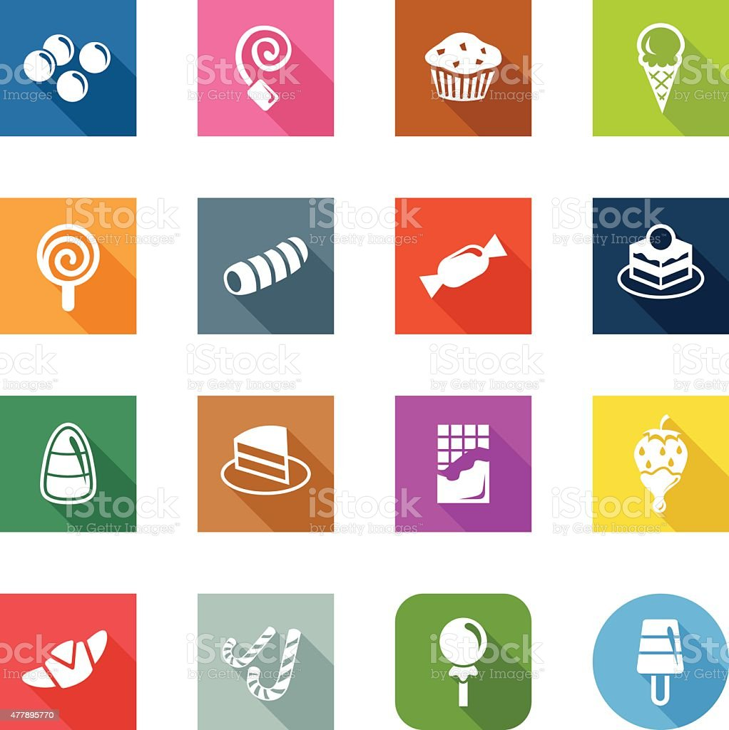 Flat Icons - Sweets & Candy vector art illustration