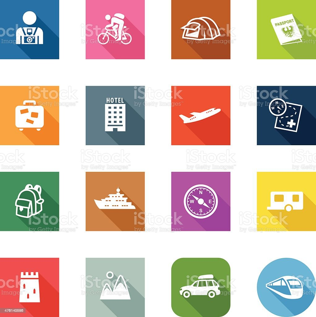 Flat Icons - Tourism vector art illustration