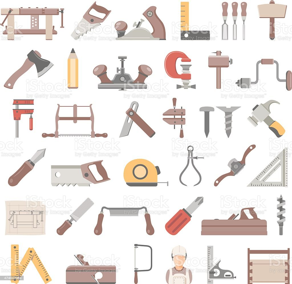 Flat Icons - Traditional Woodworking vector art illustration