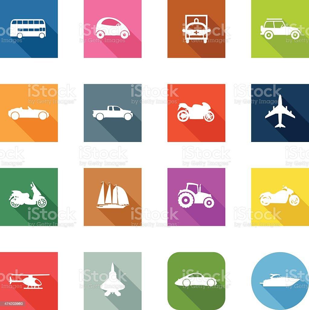 Flat Icons - Transportation vector art illustration