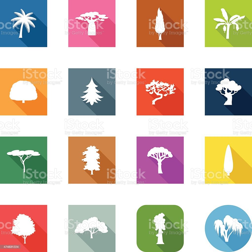 Flat Icons - Trees vector art illustration