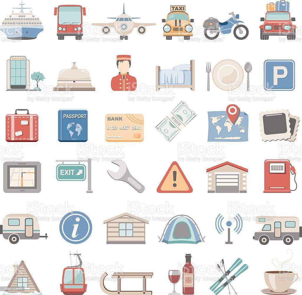 Flat Icons - Vacation vector art illustration
