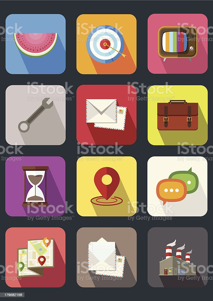 flat icons royalty-free stock vector art