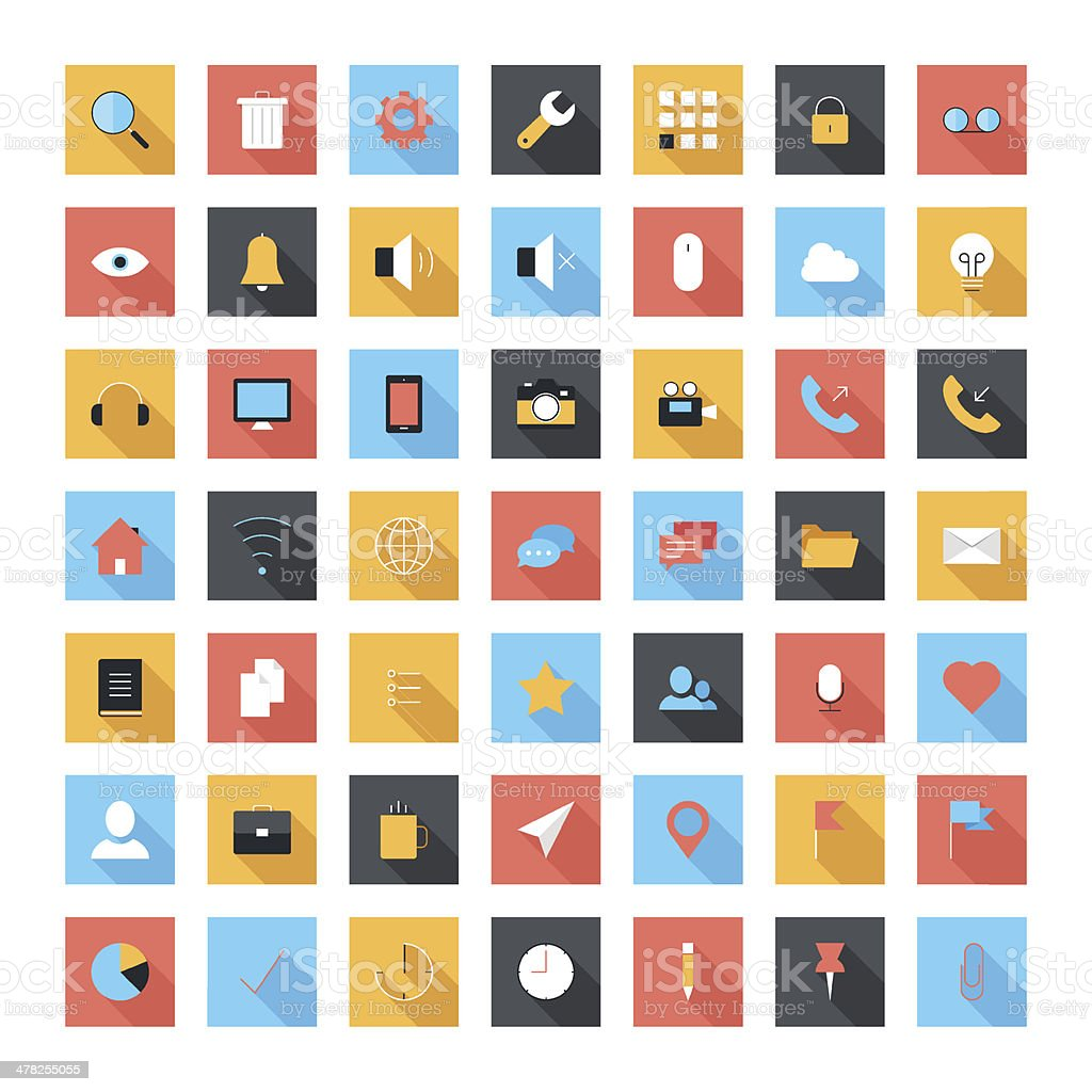 Flat icons vector art illustration