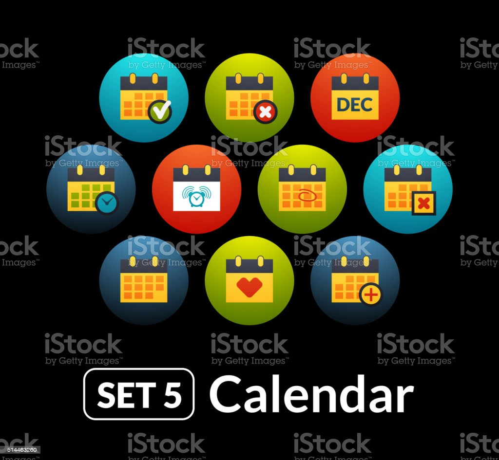 Flat icons vector set 5 - calendar collection vector art illustration